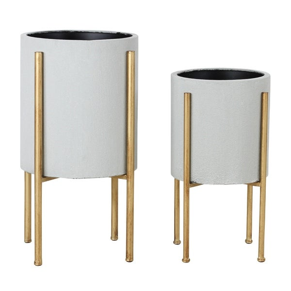 Aspire Home Accents 5742 Nabila Set of 2 Circular Metal Planters with - Gold. Opens flyout.