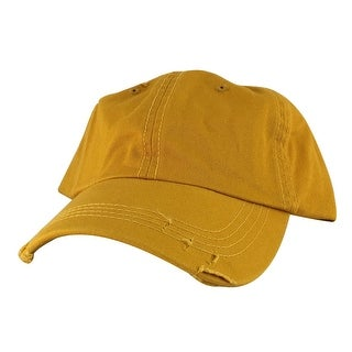 959 Curve Visor Cotton Unstructured Vintage Frayed Strapback Hat Cap - Yellow