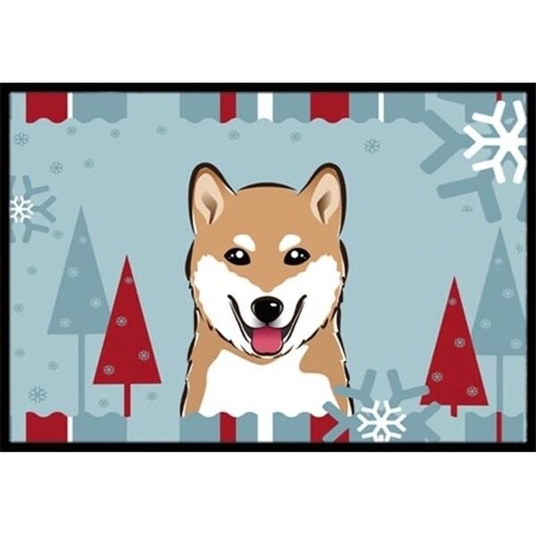 Carolines Treasures BB1721JMAT Winter Holiday Shiba Inu Indoor & Outdoor Mat 24 x 36 in.