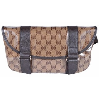 Gucci 374617 Crystal Line Canvas GG Guccissima Fanny Pack Waist Sling Bag