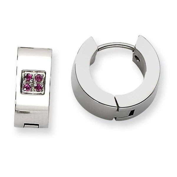 Chisel Stainless Steel Pink CZ Polished Round Hinged Hoop Earrings