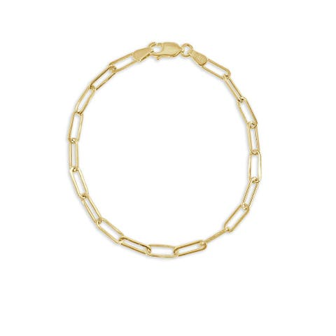 Gold Paperclip Link Chain Bracelet 14K Gold Made in Italy 3.4mm by Joelle Collection