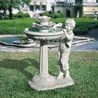 Design Toscano  The Child's Mischievous Splash Sculptural Fountain
