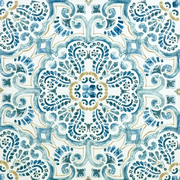 """Brewster FP2477 Fontaine 12"""" x 12"""" Square Floral Self-Adhesive Vinyl Peel and Stick Floor Tiles - Blue"""