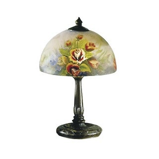 Dale Tiffany 10057/610 Victorian Rose Dome Table Lamp with Glass Shade - Antique Bronze