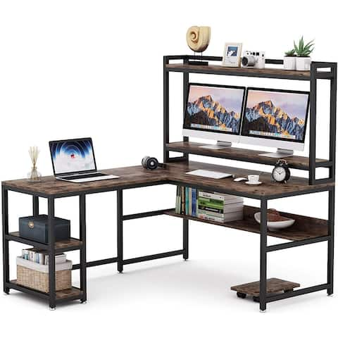 L-Shaped Desk with Hutch and Storage Shelves, 59 Inch Corner Computer Desk with Bookshelf and Monitor Stand