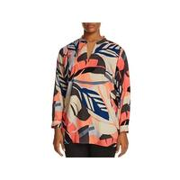 Vince Camuto Womens Plus Blouse Printed V-Neck
