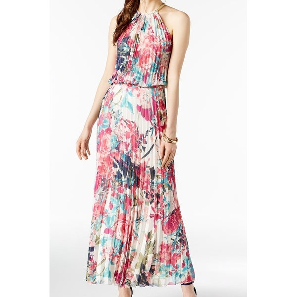 18d63994149dc Shop Msk Pink White Womens Size 12 Floral Halter Pleated Maxi Dress ...