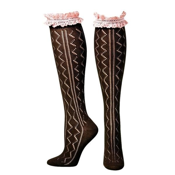 Blazin Roxx Socks Womens Knee Lace Ruffle Brown Pink