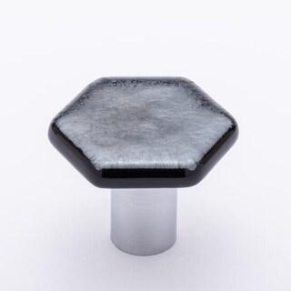 Sietto K-1702 1-1/4 Inch Hexagon Cabinet Knob with Irid Silver Black Glass