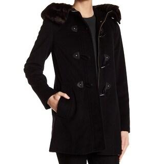 Ellen Tracy Black Women's Size 12 Faux Fur Hooded Coat Wool