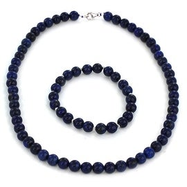Sterling Silver Lapis Beaded Bracelet and Necklace Set