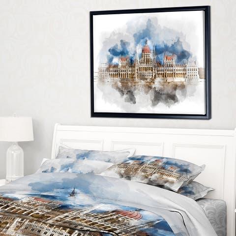 Designart 'Hungarian Parliament Building' Extra Large Framed Canvas Art Print