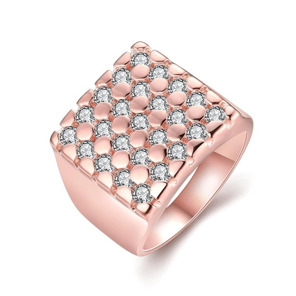 Cube Shaped with Jewels Covering Rose Gold Ring
