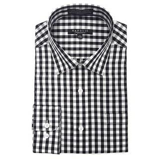 Marquis Men's Gingham Checkered Long Sleeve Modern Fit Dress Shirt