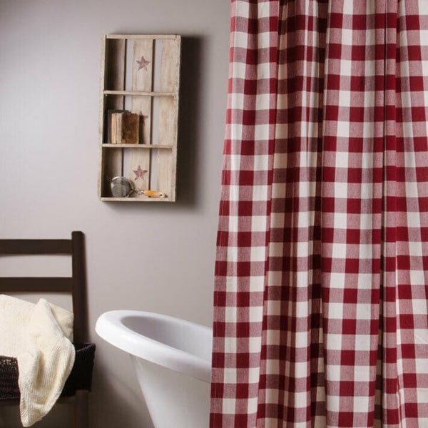 """Cotton Shower Curtain Buffalo Check Red and Buttermilk 72"""" x 72"""". Opens flyout."""