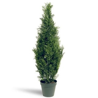 """36"""" Potted Artificial Arborvitae Topiary Tree - Green"""
