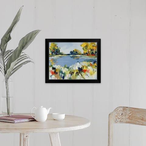 """Blue Valley View I"" Black Framed Print"