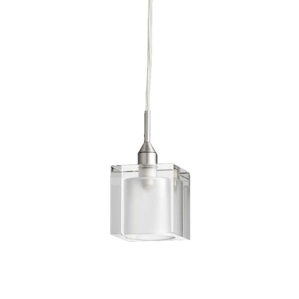Quorum International 1361 1 Light Mini Pendant with Glass Square Shade - satin nickel