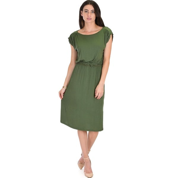 d81276e6156d5 my everyday tie waist olive midi dress-Olive-Medium