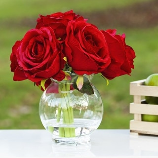 Link to Enova Home Silk Rose Flower Arrangement in Clear Glass Vase With Faux Water For Home Decoration Similar Items in Decorative Accessories