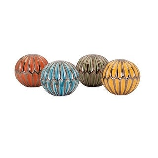 """Set of 4 Beautifully Crafted Cut It Out Ceramic Orbs 5"""""""
