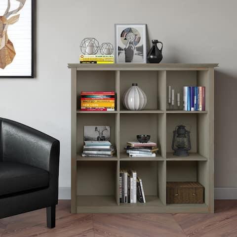 "WYNDENHALL Stratford SOLID WOOD 45 inch x 43 inch Transitional 9 Cube Bookcase and Storage Unit - 43.2""w x 15""d x 44.6"" h"