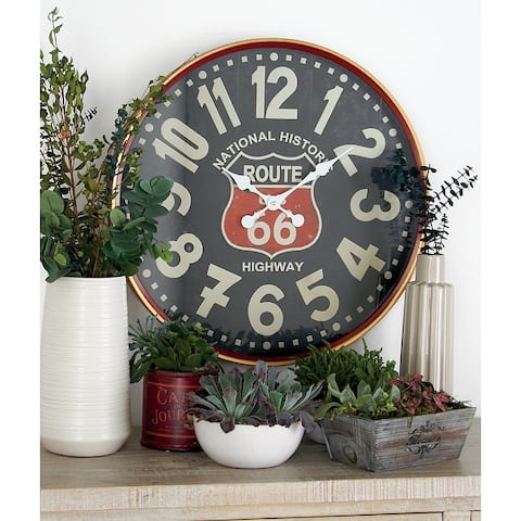 Traditional 12 Inch Round Vintage Metal Wall Clock by Studio 350