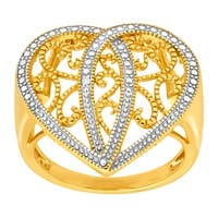 Heart Filigree Ring with Diamond in 14K Gold-Plated Sterling Silver