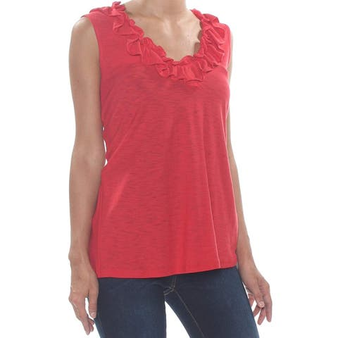 Cece Women's Top Blouse Red Size Large L Ruffled Scoop Neck Tank Cami