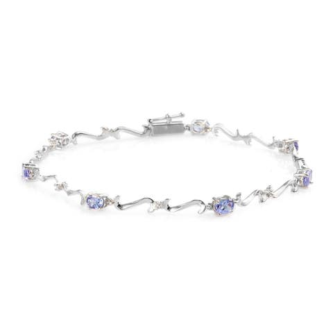 Shop LC Gold Tanzanite Diamond Bracelet Size 7.5 In Ct 1.2 I3 Clarity - Bracelet 7.5''