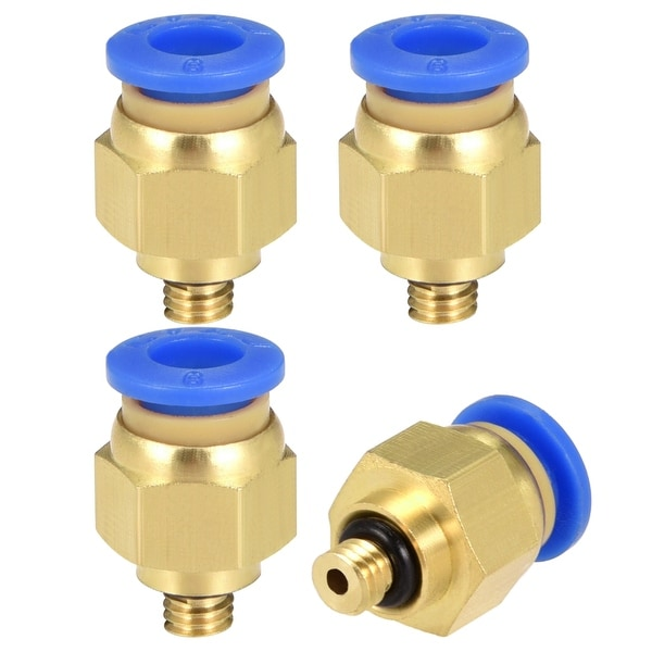 4 Pcs Pneumatic Straight Quick Fitting 6mm Thread M5 One Touch Hose Connector - 6mm OD x M5