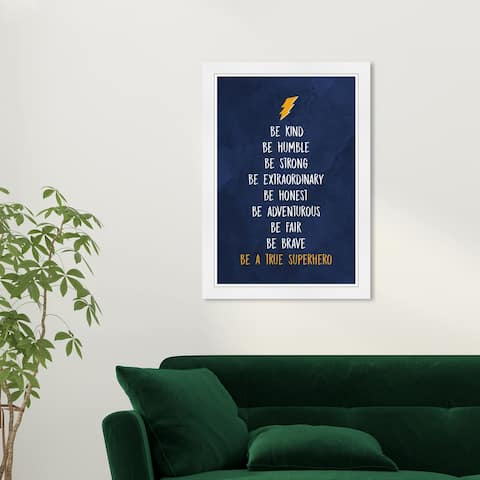 Wynwood Studio 'Be a True Superhero' Typography and Quotes Blue Wall Art Framed Print