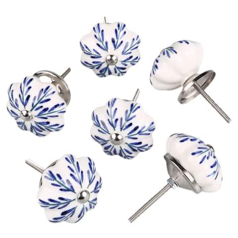 6 Pcs Ceramic Knobs Drawer Pulls Cupboard Handles Vintage - Multi - Pachira Macrocarpa