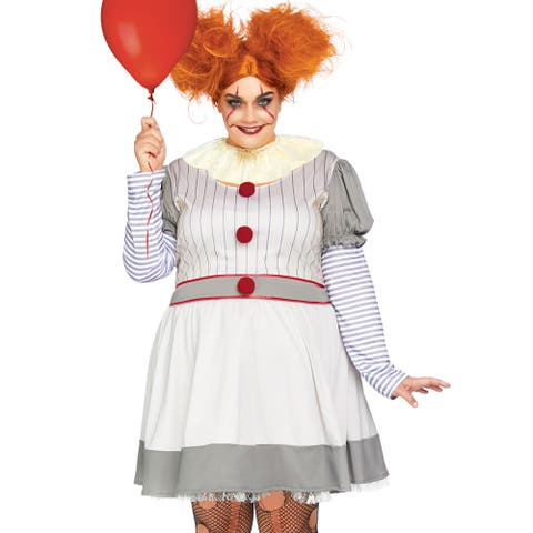 Womens Plus Size Creepy Clown It Costume