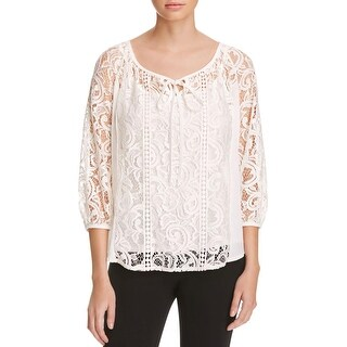 Status by Chenault Womens Peasant Top Chiffon Lace Inset