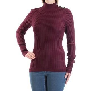 INC $60 Womens New 1058 Burgundy Textured Long Sleeve Turtle Neck Top M B+B