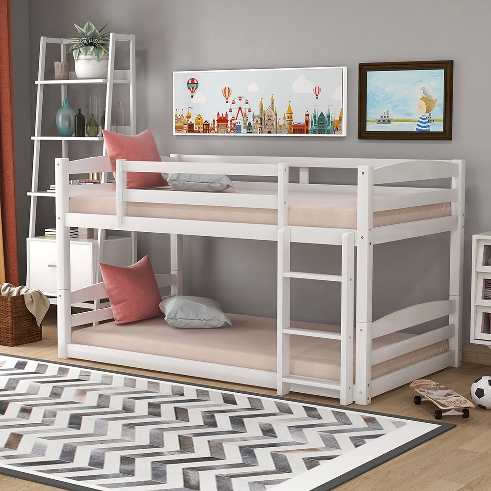 Twin Over Twin Bunk Bed Separable White And Grey Overstock 32362742
