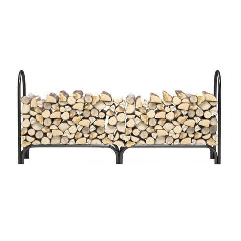 Regal Flame 8 Foot Heavy Duty Outdoor Firewood Log Rack Holder - Black