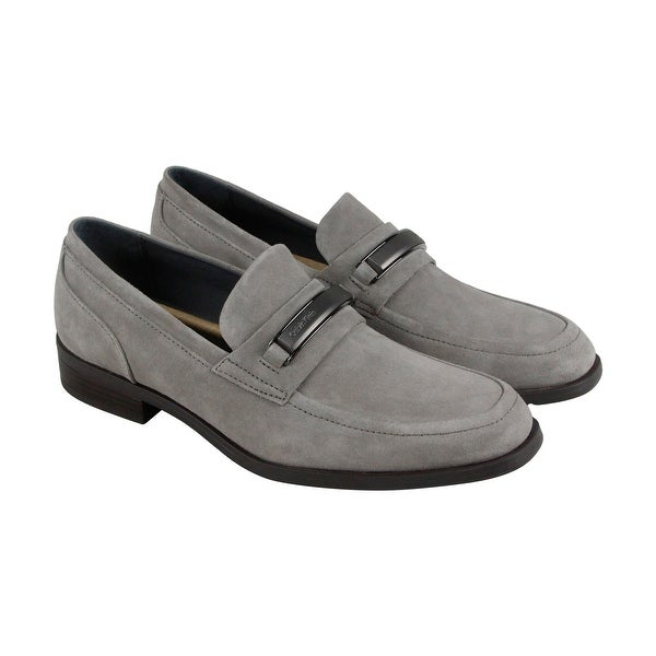 Calvin Klein Dougie Oily Mens Gray Suede Casual Dress Slip On Loafers Shoes