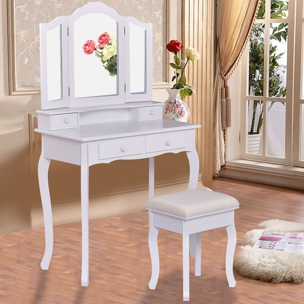 Costway Vanity Makeup Dressing Table Set Bathroom W/Stool