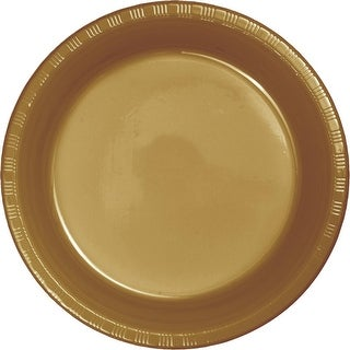 """Club Pack of 240 Glittering Gold Disposable Plastic Party Lunch Plates 6.75"""""""