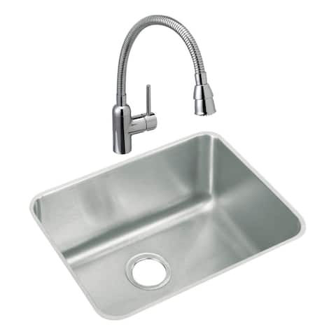 """Elkay ELUH211510C Lustertone 21-1/2"""" Undermount Laundry Sink with 1.5 GPM Single Hole Faucet with Flexible Spout -"""