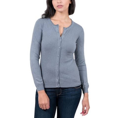 Real Cashmere Grey Cashmere Blend WomensCrewneck Cardigan