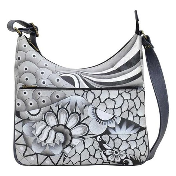 ANNA by Anuschka Women  x27 s Hand Painted Crossbody Hobo 8322 Patchwork  Pewter - 9cb8433972
