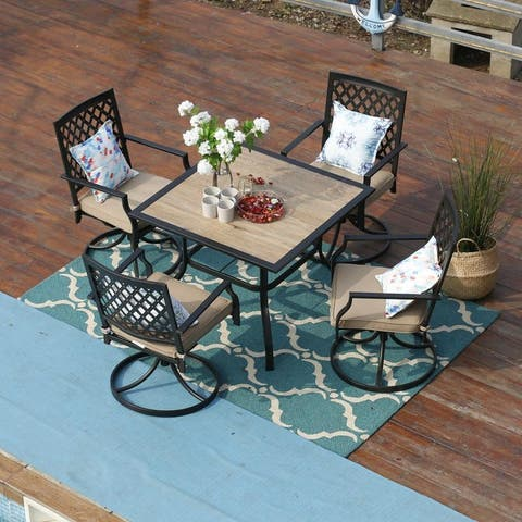 PHI VILLA 5 Piece Outdoor Patio Bistro Swivel Chairs and Wood-Like Square Dining Table Furniture Set