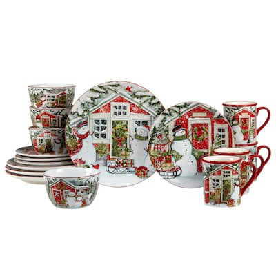 Certified International Snowman's Farmhouse 16 Pc. Dinnerware Set, Service for 4