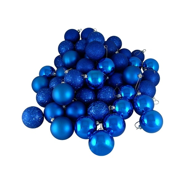 "16ct Lavish Blue Shatterproof 4-Finish Christmas Ball Ornaments 3"" (75mm)"