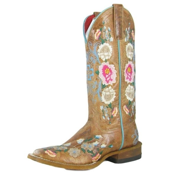 Macie Bean Western Boots Womens Cowboy Rose Garden Floral Honey
