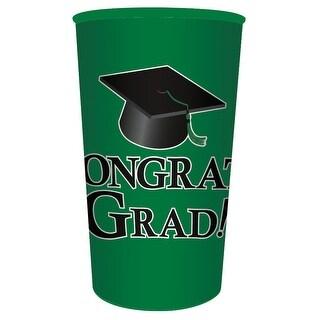 """Club Pack of 20 Emerald Green """"Congrats Grad!"""" Plastic Drinking Graduation Party Souvenir Tumbler Cups 22 oz"""